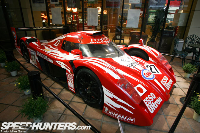 Outside In The Patio Area There Are More Race Cars On Display Including The  Toyota GTone Driven By Keiichi Tsuchiya At Le Mans.