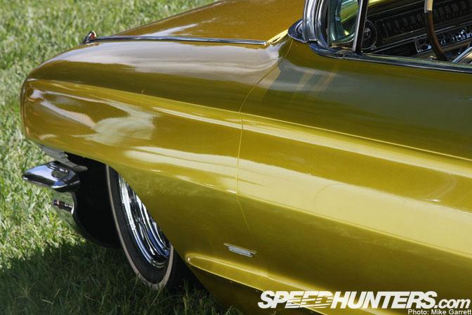 Car spotlight flaked caddy on the grass speedhunters for Metallic yellow paint