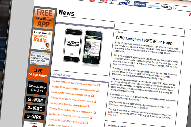 News>> Wrc Launches Free Iphone App