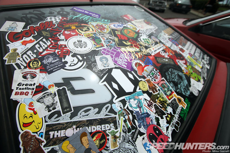 The entire rear window was stickerbombed with everything from beavis and butthead and star wars to dale earnhardt dont forget the speedhunters sticker as