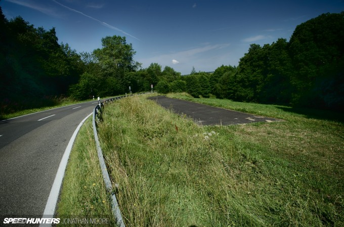 The Nürburgring Südschleife, the abandoned southern loop of the legendary Nordschleife racing circuit, built in 1927 but mostly destroyed during the building of the modern Grand Prix track