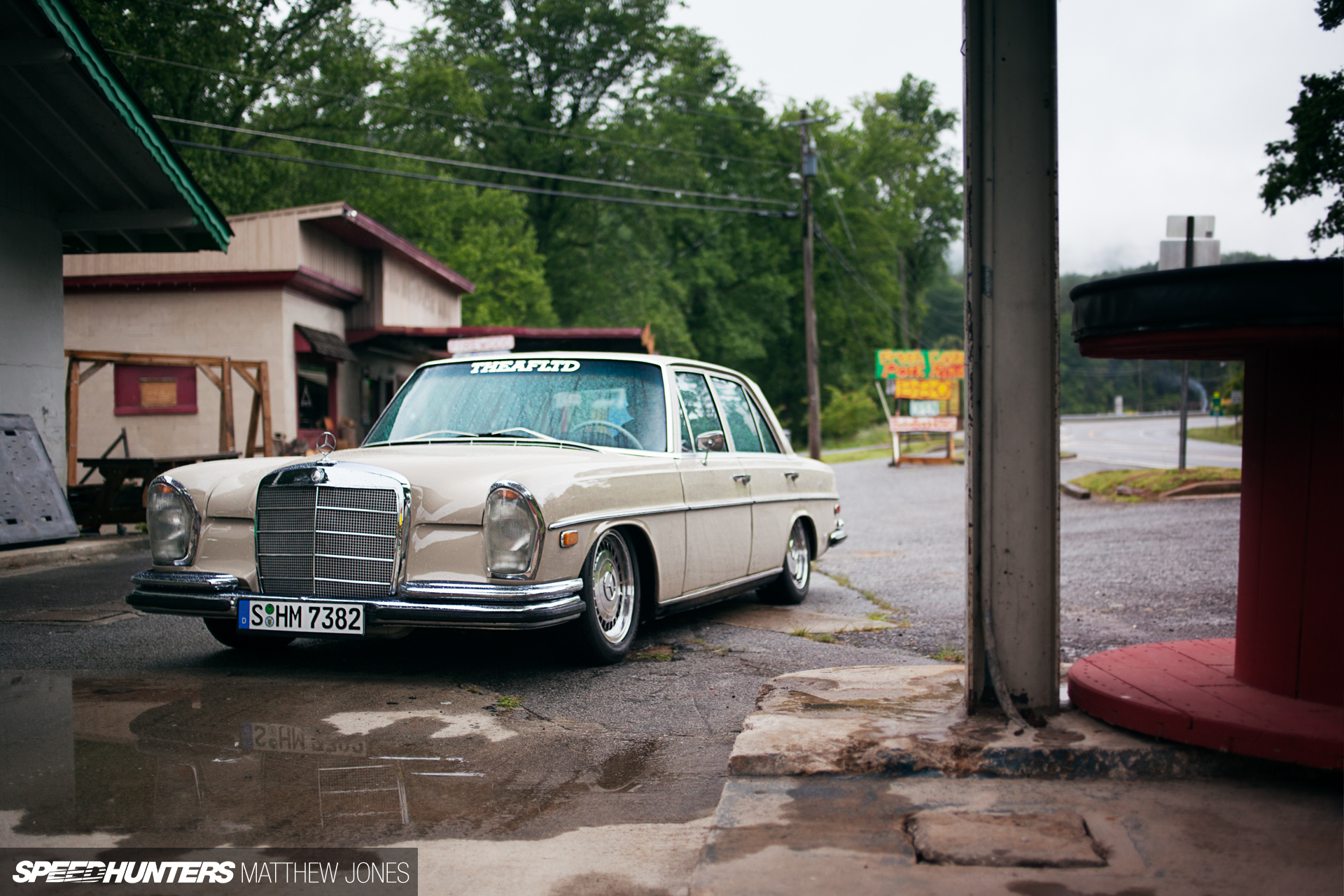 Old benz new tricks slammed with a small block for Small mercedes benz