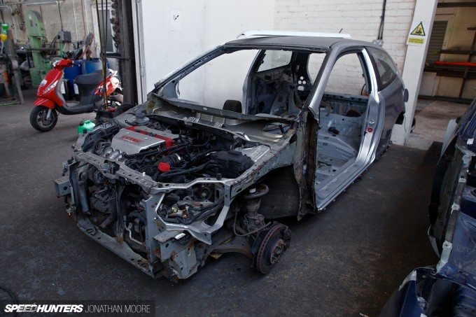 Build in progress of the KM4SH (Kei Miura 4 Speedhunters) Golf at the workshop of Hauser Racing, Wellingborough