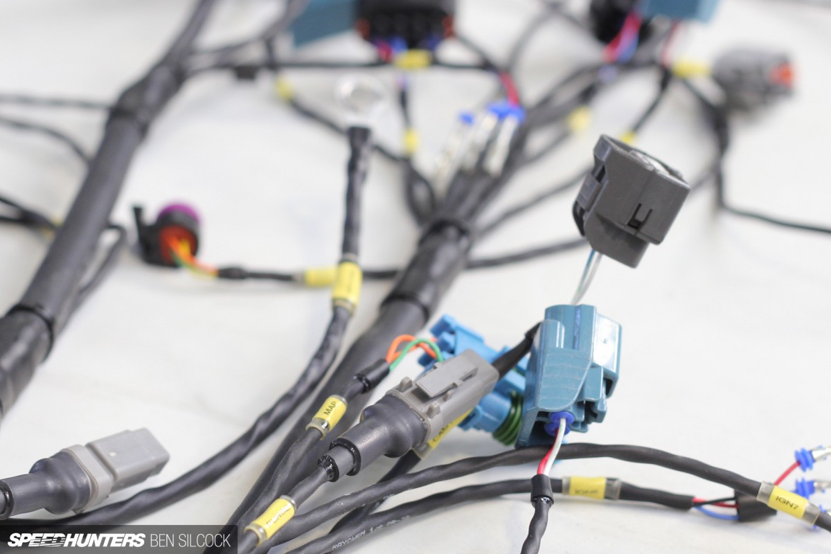 motorsport wiring harness with yellow labels - Speedhunters