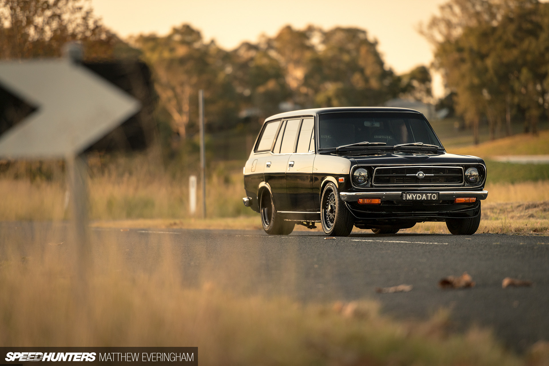 Perfection In A Black-On-Black Datsun Wagon