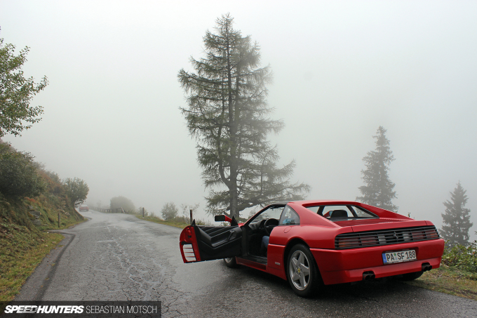 Ferrari 348 TS on a mountain pass in Austria by Sebastian Motsch