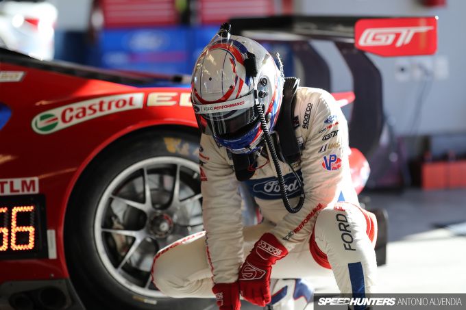 Joey Hand in Sparco suit, Ford GT IMSA Laguna Seca