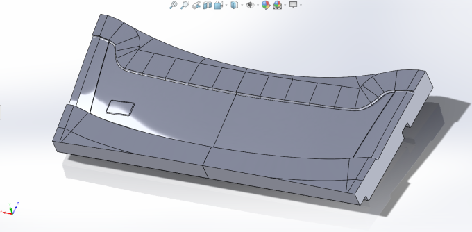 CAD of S5 WRC Rear Spoiler LWR element, BTM pattern