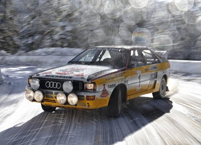 Walter Röhrl im Audi Quattro A2 Rallye am Col de Turini