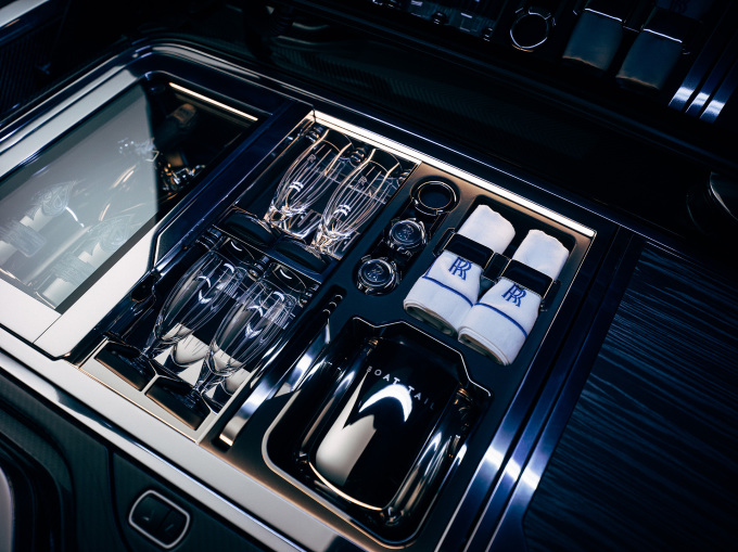 Rolls-Royce Boat Tail Hosting Suite with champagne refrigerator